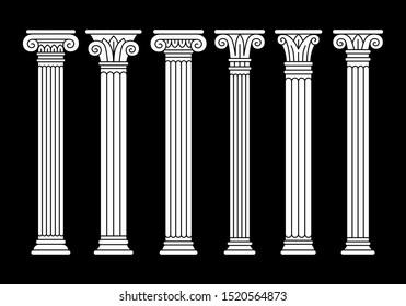 Set of six ancient greek, roman columns, pillars, white linear silhouettes.