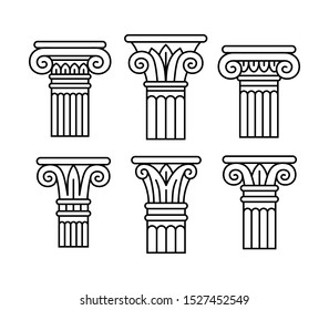 Set of six ancient greek, roman columns, pillars, orders, capitals. Linear silhouettes