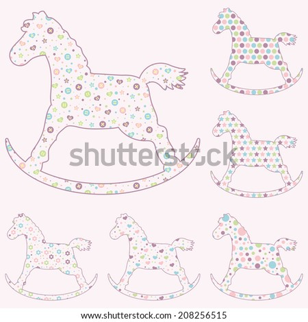 Set Six Baby Toys Rocking Horse Silhouettes Stock Vector Royalty