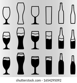 A set of six Beers with different amounts of alcohol. Set for bars and restaurants. Vector illustration.