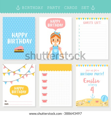 Set Of Six Birthday Cards Notes With Cute Cartoon Girl For Sailor Party