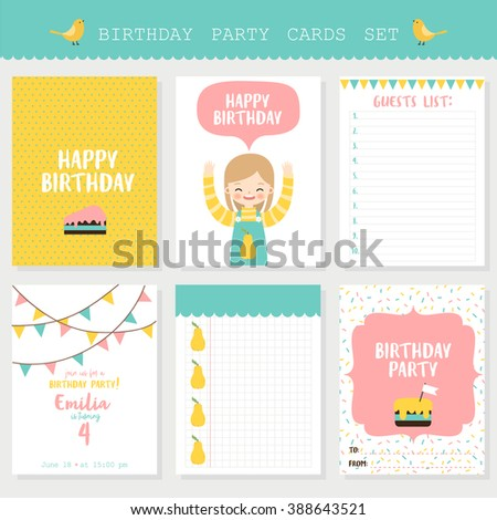 Set Of Six Birthday Cards Notes With Cute Cartoon Girl Pastel Can Be Used For Party Invitations And Greeting