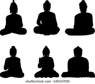 Set of a six black silhouettes of Buddha statue. Art vector illustration of Gautama. Buddhism Religion