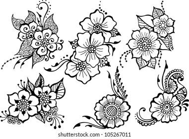 set of six black vector flowers