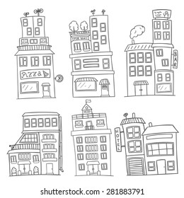 set of six black and white vector houses. Cartoon isolated buildings: pizzeria, grocery shop, hotel, bar and museum