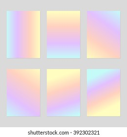 Set of six blank sheets of holographic paper in pale purple, yellow, orange and blue gradient A4 size. The modern design of the blank template for a flyer, poster, brochure, business brochures.
