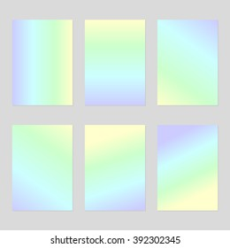 Set of six blank sheets of holographic paper in pale purple, yellow, green and blue gradient A4 size. The modern design of the blank template for a flyer, poster, brochure, business brochures.