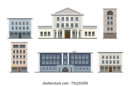 Set of Six Buildings Types Illustration