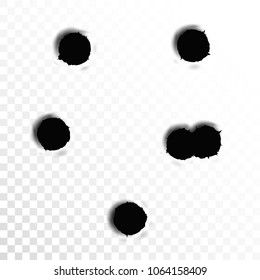 Set of six bullet holes. Isolated on white transparent background. Vector illustration, eps 10.