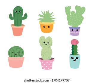 Set of six cactus vector illustrations in cartoon style. Hand-drawn cactus illustrations with funny faces in pots. Can be used for cards, invitations, stationary, textile.