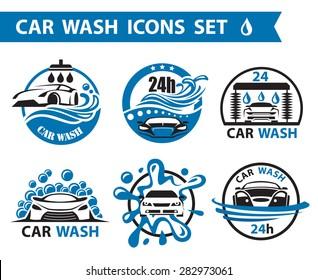 set of six car wash icons