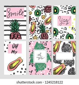 Set of six cards with colorful elements. Summer templates with hand drawn tropic fruits and plants.