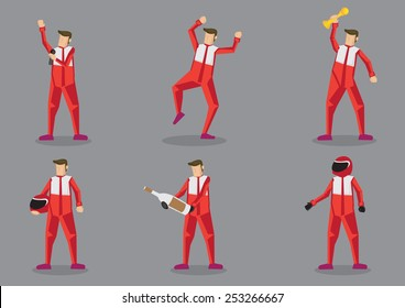 Set of six cartoon characters in red suit as professional sports car racing isolated on grey background.