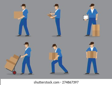 Set of six cartoon delivery man in blue uniform and black cap carrying boxes and cartons. Vector characters isolated on plain grey background.