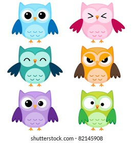 Set of six cartoon owls with various emotions. First set of two.