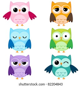 Set of six cartoon owls with various emotions. Second set of two.