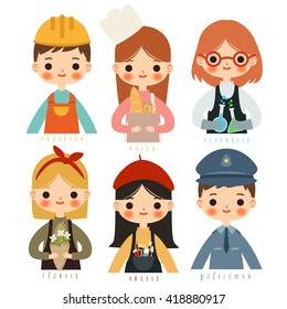 set of six childrens with different professions. cute little girls baker, scientist, doctor, artist, florist. Little boys engineer and policeman