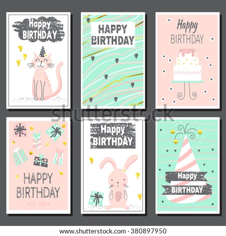 set six childrens postcards cute birthday stock vector royalty free