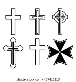 Set of six christian crucifix crosses