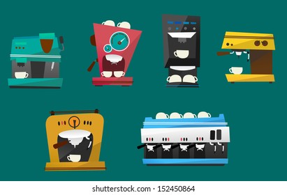 A set of six coffee machines illustrations isolated on a dark turquoise background.