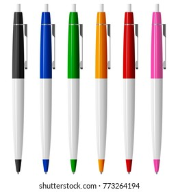 Set of six colored ballpoint pens with buttons and metal clips, vector illustration on white background