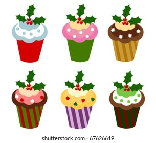 Set of six colorful Christmas cupcakes. Vector illustration