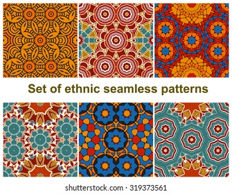 Set of six colorful geometric patterns (seamlessly tiling).Seamless pattern can be used for wallpaper, pattern fills, web page background, surface textures. Fashion seamless backgrounds.