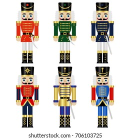 set  of a six colorful nutcrackers