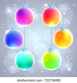 Set of six colorful rainbow Christmas balls on sparkled background