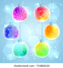 Set of six colorful rainbow Christmas balls with snowflake decorations on sparkled background