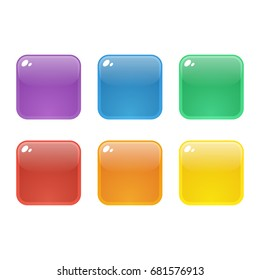 Set of six colorful rounded square glossy buttons. Vector assets for web or game design, app icons vector template isolated on white background.