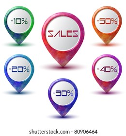 Set of six colorful sales pointers