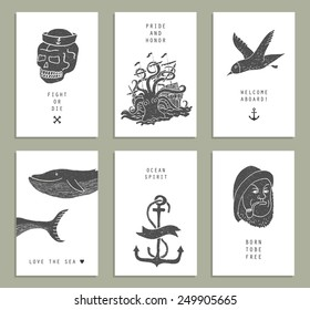 Set of six creative cards. Marine themes & tattoo. Sailor. Ocean. Octopus. Whale. Skull. Anchor. Vector illustration in doodle style.