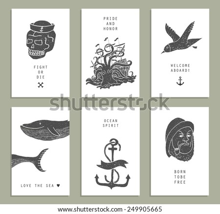 be9be1ccb54e Set of six creative cards. Marine themes   tattoo. Sailor. Ocean. Octopus.  Whale. Skull. Anchor. Vector illustration in doodle style. - Vector