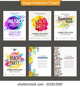 Set of six creative Flyer, Banner or Template design for Music Party celebration.
