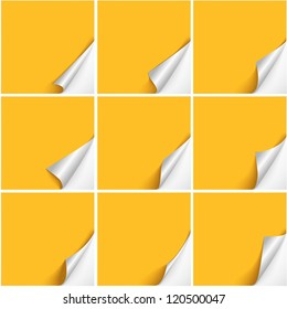 Set of six curved corners on yellow sheets with realistic shadows. Vector design.