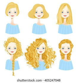 Set of six cute blonde girl characters with different hair styles on white background. Cute girls avatars. Vector illustration.