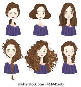 Set of six cute brown hair girl characters with different hair styles on white background. Cute girls avatars. Vector illustration.