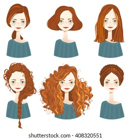 Set of six cute redhead girl characters with different hair styles on white background. Cute girls avatars. Vector illustration.