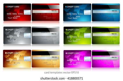 a set of six different color credit card