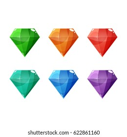 Set of six different color crystals, gemstones, gems, diamonds. Vector gui assets collection for game design isolated on white background.