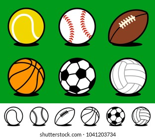 Set of six different colored cartoon sports ball icons with accompanying black and white line drawing variations on a green background with shadow for use as design elements - vector illustration