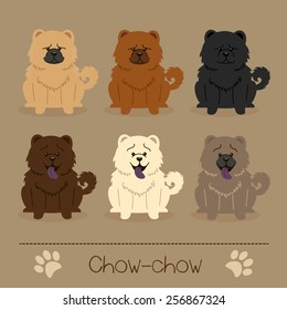 Set of six  different colors Chow-chow. Funny and sad cartoon character.