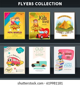 Set of six different flyers of Kids World, Summer Camping, Back to School and Toy Shop.