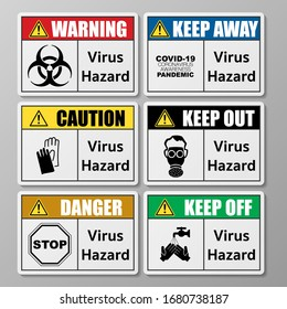 Set of six different rectangle warning  signs with coronavirus symbols and text
