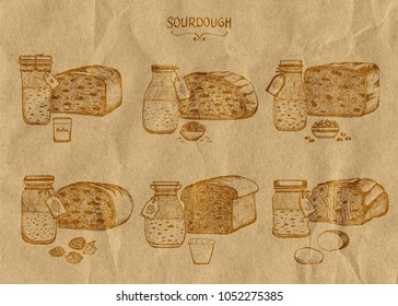 A set of six different types of bread sourdough. Painted in ink on kraft paper in vintage style. Healthy eating theme