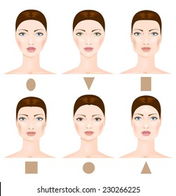 Set of six different woman's face shapes.  Vector