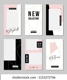 A set of six editable vertical templates for social media posts in pastel pink, white, gold and black. Fashion and lifestyle blog templates, web banners, brochure designs with placeholder for photos.