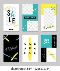 A set of six editable vertical templates for social media posts in neon yellow, white, aqua blue and black. Fashion and lifestyle blog templates, web banners, brochure designs with place for photos.