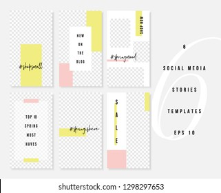 A set of six editable vertical templates for social media stories posts in pastel pink, white, neon yellow and black. Fashion and lifestyle blog templates, web banners, brochure  with placeholder for
